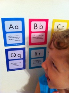 Caleb and his ABC scripture cards