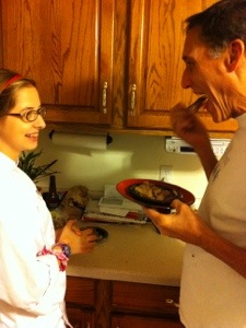 Mackenzie and ChefDad doing a taste test